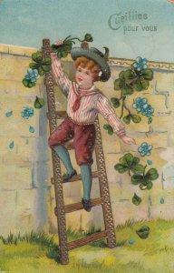 Boy picking flowers, PU-1911; Cueilles pour vous