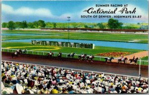 Littleton, Colorado Postcard CENTENNIAL PARK Horse Racing Track c1950s Unused
