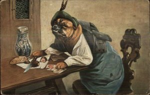 Dressed Bulldog Dog Sitting at Table Playing Cards Eating c1910 Postcard