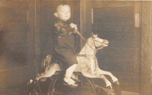 F71/ Interesting Real Photo RPPC Postcard c1910 Boy Rocking Horse Toy 6
