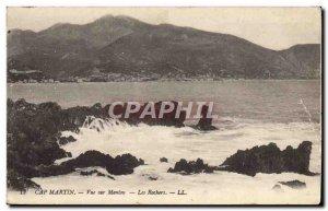 Old Postcard Cap Martin Menton View On The Rocks
