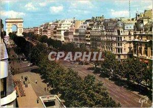 Modern Postcard Paris Champs-Elysees avenue at the bottom of the Arc de Triom...