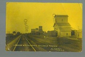 Dillwyn KANSAS RPPC 1913 DEPOT Train Station GHOST TOWN nr Pratt St. John DPO