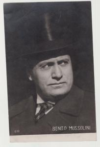 Fascist Italy Benito Mussolini in top hat RPPC real picture postcard