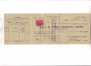 Custom Cheque from JM STOBO Company, Fine Shoes, Montreal, Quebec 1935