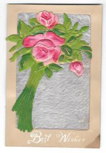 Best Wishes Silk Covered Pink Roses Vintage Novelty Postcard