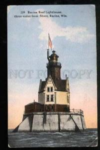 027648 USA Reef LIGHTHOUSE in RACINE Wis Vintage PC