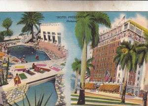 P1929 vintage multi view linen postcard hotel presidente havana cuba unused
