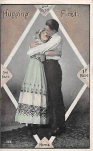 Hugging First Base Ball Baseball  Post Card Hugging First