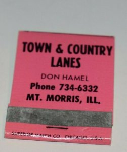 Town and Country Lanes Bowling Mt Morris Illinois 20 Strike Matchbook