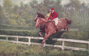 Men Horse Racing, Steeplechasing Neck And Neck, TUCK No. 9118, PU-1906