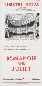 Romanoff & Juliet Peter Ustinov Vintage Theatre Royal Margate Kent Programme