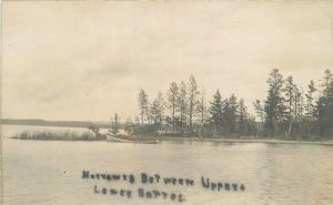 C-1910 Upper Lower Bottle Lake Hubbard Minnesota RPPC Photo Postcard 12247