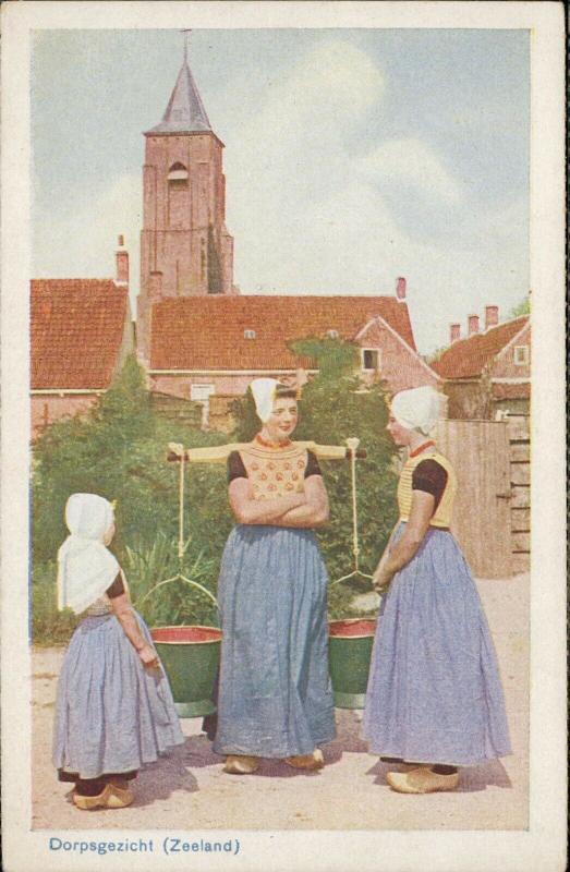 Dorpsgezicht Zeeland Dutch women typical costume