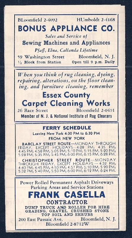 LACKAWANNA Railroad Timetable Bloomfield NJ to NY c1952