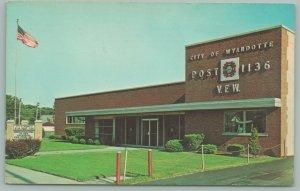 Wyandotte Michigan~V.F.W. Post 1136~Flag Pole~1960's Postcard