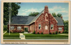 Florence, Alabama Postcard American Legion Home Building View Curteich Linen