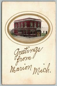 Greetings from Marion Michigan~Marion State Bank Vignette~1909 Postcard
