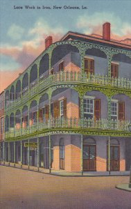 Louisiana New Orleans Lace Work In Iron Corner Of Royal and St Peter Curteich