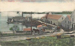 Friendship ME Steamboat Wharf Ship Horse & Wagons in 1907 Postcard