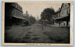 Postcard MD Taneytown 1920 View on Dirt Baltimore Street Horse Wagon S6