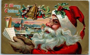 1910 SANTA CLAUS Christmas Postcard in Red Suit Reading Nice List / Town View