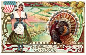 16146   Thanksgiviing   Turkey Patriotic with Young Maiden
