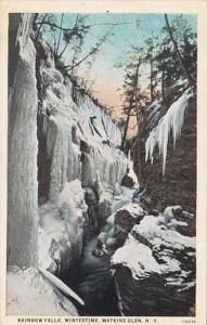 New York Watkins Glen Rainbow Falls Winter Scene Curteich