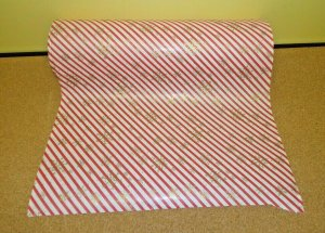 Vtg By YD Dept Store Wrapping Paper Red White Stripe Gold Snowflakes Christmas