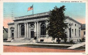Post Office, Centralia, Illinois, Early Postcard, Used in 1937