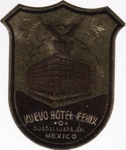 Mexico Guadalajara Nuevo Hotel Fenix Vintage Luggage Label sk1164