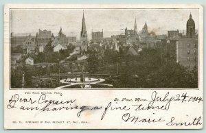 St Paul Minnesota~Downtown Skyline~Birdseye View @ Central Park~1904 B&W PC