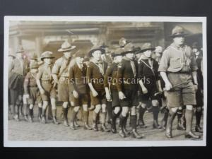 Lancashire DARWEN BOY SCOUTS TROOP & LEADERS ON PARADE - Old RP Postcard