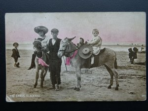 BLACKPOOL The Sands showing CHILDREN & DONKEY RIDES c1912 Postcard by Advance