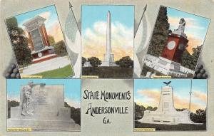 D88/ Andersonville Georgia Ga Postcard c1930s State Monuments 5View
