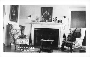 Swansea Massachusetts~Rest House~Portraits on Wall~Fireplace~Clock~1950s RPPC