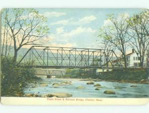 Unused Divided-Back BRIDGE SCENE Chester Massachusetts MA HJ0358