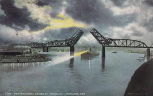 PORTLAND , Oregon , PU-1923 ; Broadway Bridge by Moonlight