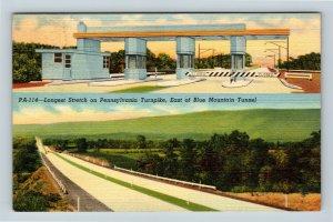 East Of Blue Mountain Tunnel, Turnpike, Pennsylvania Linen Postcard
