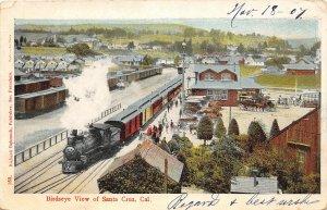 F81/ Santa Cruz California Postcard 1907 Birdseye View Railroad Depot Loco
