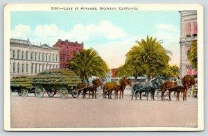 Stockton California~Horse Drawn Carts of Load of Almonds on Main Street~1920s