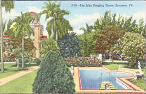 SARASOTA, beautiful landscaping and pool view on the John Ringling Estate, 1940s