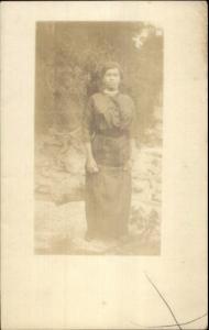 Black Americana Woman in Dress c1910 Amateur Real Photo Postcard