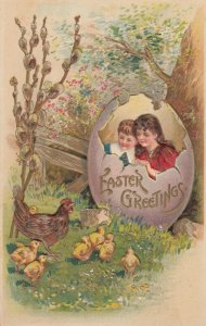 EASTER , Kids in a giant Egg, Hen with Chicks, PU-1906