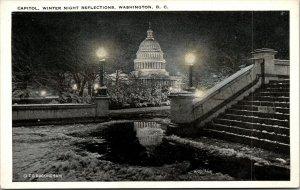 Vtg 1920s Capitol Winter Scene Night View Reflection Washington DC Postcard