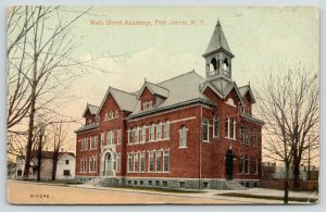 Port Jervis New York~Main Street Academy School~Houses Down Street~1917 Postcard
