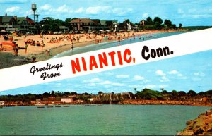 Connecticut Greetings From Niantic Showing Crescent Beach and Niantic Bay and...