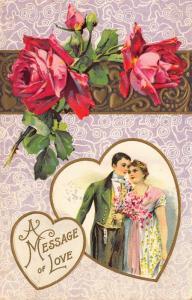 Valentine~Elegant Couple in Heart~Red Roses on Banner~Lavender White Back~Emboss
