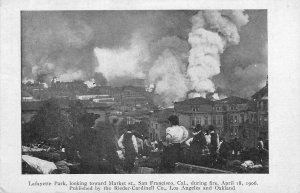 Lafayette Park, Market St. SAN FRANCISCO 1906 Earthquake/Fire Vintage Postcard