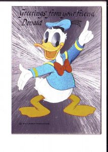 Greetings from your Friend, Donald, Walt Disney Silver Foil Donald Duck Postcard